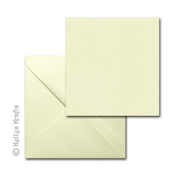 "Square Card Blanks /& Envelopes Size 6/"" x 6/"" White or Ivory Scalloped Edge"