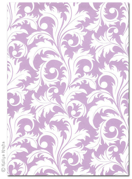 A4 Patterned Card Vines White On Lilac 1 Sheet 163 0 69