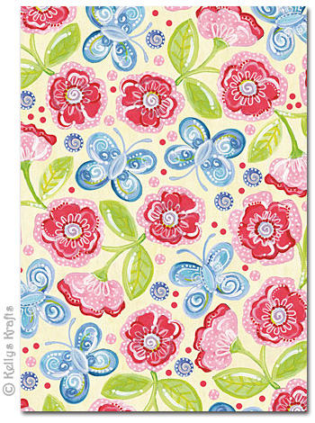 a4 patterned card butterflies flowers on cream 1 sheet 0 69