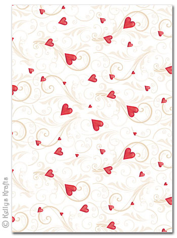 A4 Patterned Card Romance Red 1 Sheet 163 0 69