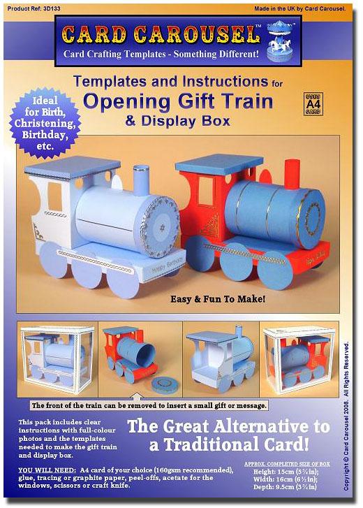 card carousel craft template train engine 3d133 8 99