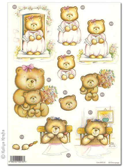 Craft UK Die Cut Decoupage A4 Sheet various Bears