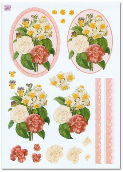 3d Decoupage Set Flower Floral Theme 4 Sheets 163 1 99