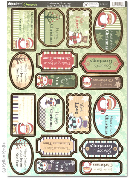 Christmas Toppers For Card Making.Kanban Craft Toppers Christmas Greetings Pct9915 1 75