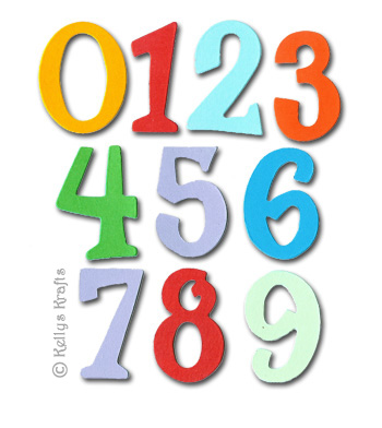 20 piece die cut numbers kit, mixed colours - £0.65