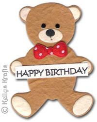 Mulberry Happy Birthday Teddy Bear Die Cut Shape 0 65